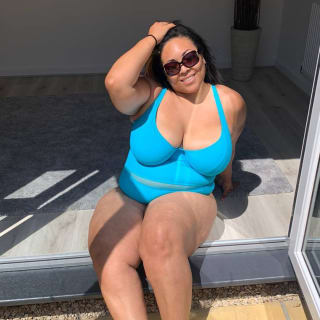 Curvy Kate Sheer Class Plunge Swimsuit Turquoise as worn by @chantelleplusmodel