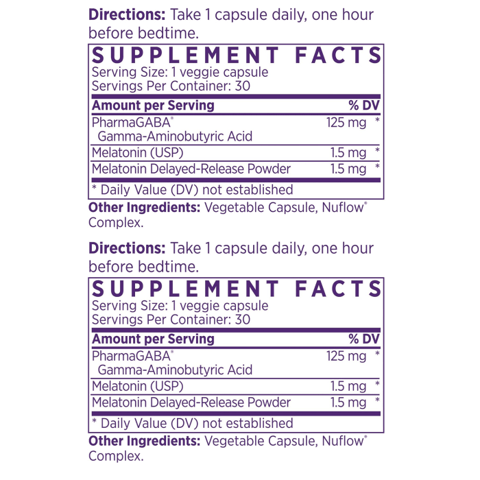 AM/PM Stress-Easing Duo Supplement Facts